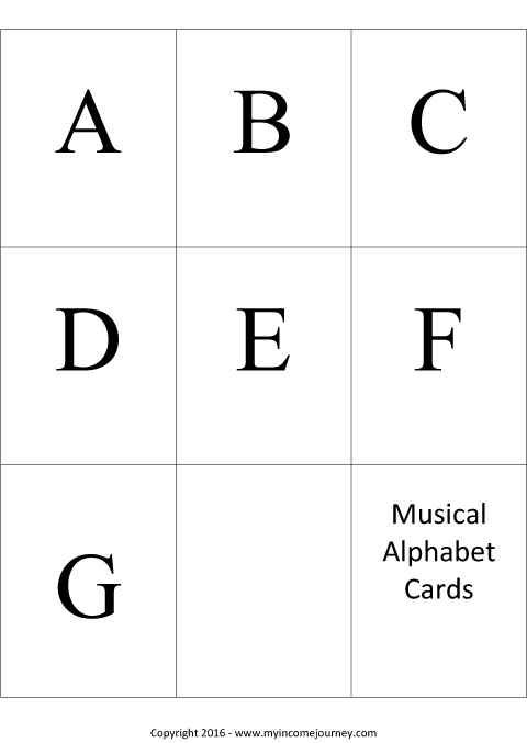 Musical Alphabet Cards Preview