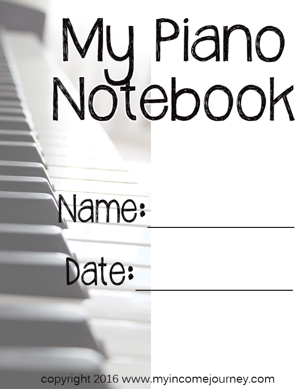 Piano Lessons Notebook Cover